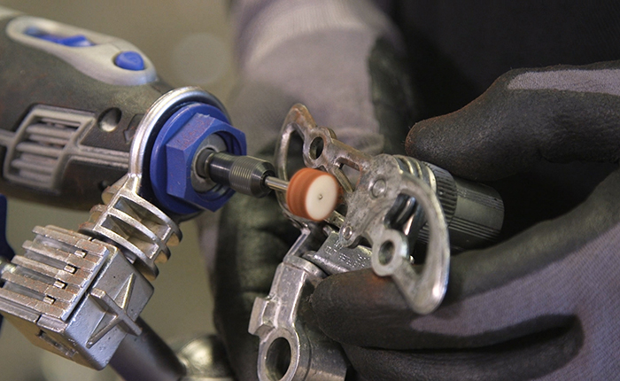 Give each derailleur part a little sheen with Dremel's polishing accessories.