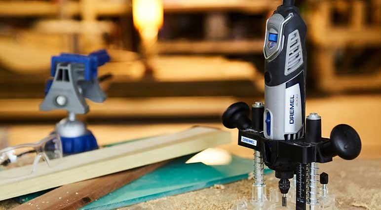 Routing becomes effortless when using Dremel's Plunge Router Attachment.