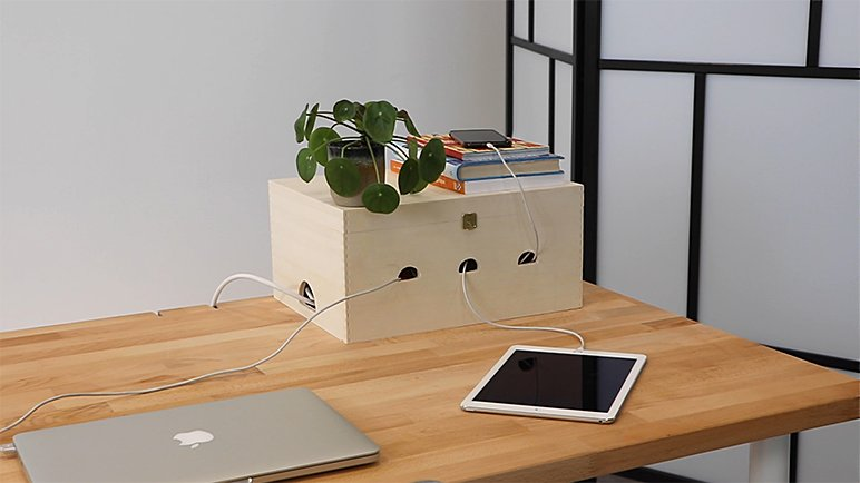 DIY home office idea: make your own cable box.