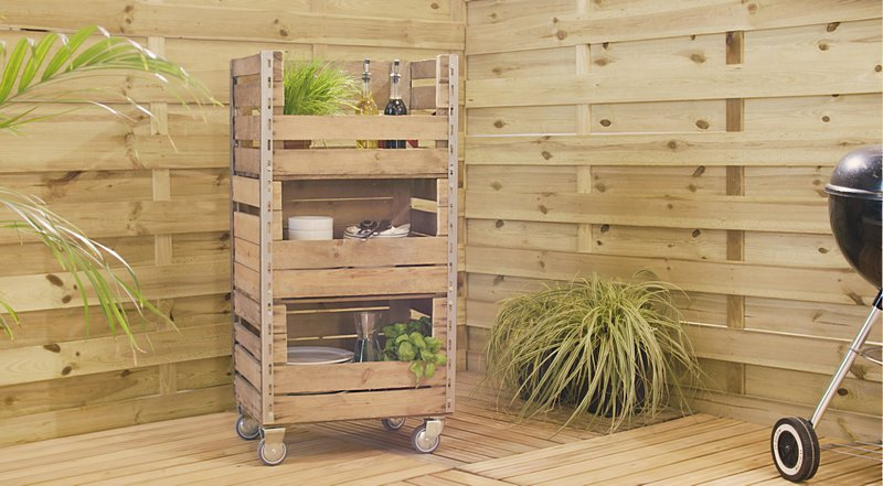 Learn how to Upcycle Wooden Crates Into a BBQ Side Table with Dremel