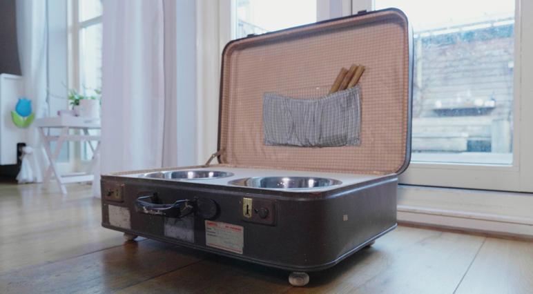 Вариант применения резки: превратите старый чемодан в подставку емкости для кормления животных