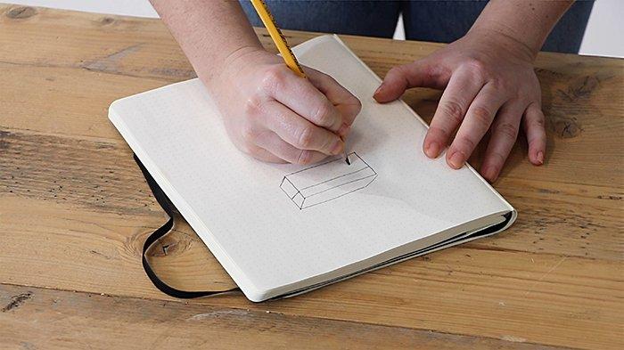 Сделай набросок того, как будет выглядеть твоя самодельная коробка для хранения кабелей.