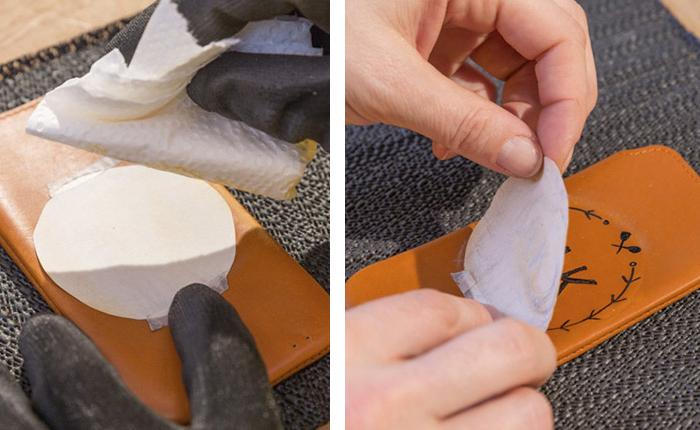 Tasarımın deriye daha iyi geçmesi için aseton kullanın.